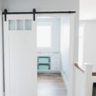 storage space with sliding barn door