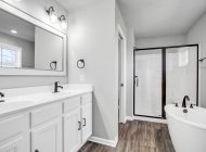 burkentine builders black and white master bathroom with shower and tub